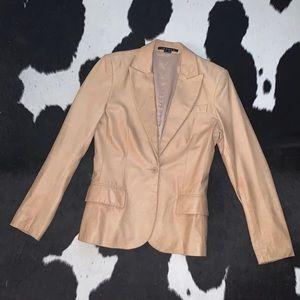 Theory Gabe camel leather blazer jacket, size 6